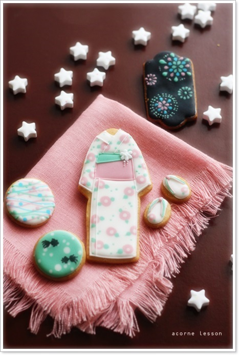 yukata icing cookie